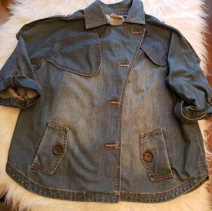 Chico's Sz 3 Distressed Denim Jacket w Pockets